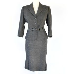 TAHARI 2-Piece Belted Wool Skirt Suit